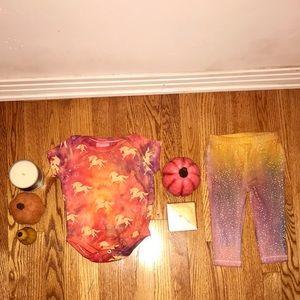 Tie Dye Ombré Bodysuit Leggings Set/Sunset